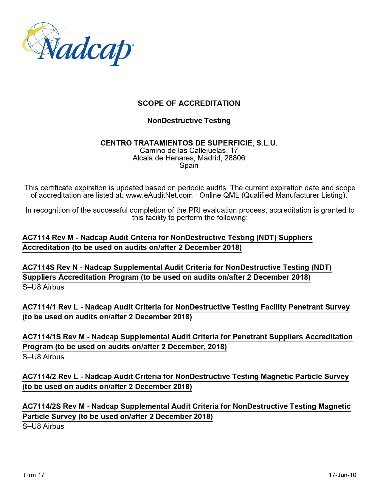 NonDestructive Testing audit 189930 ScopeOfAccreditation