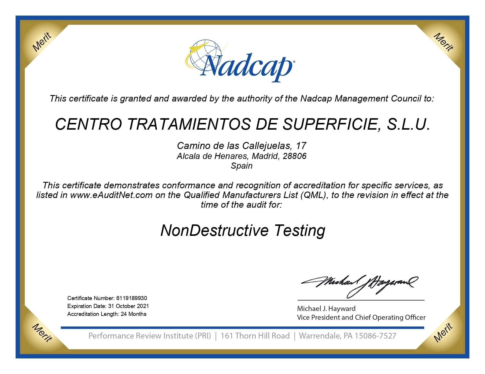 NonDestructive Testing audit 189930 certificate